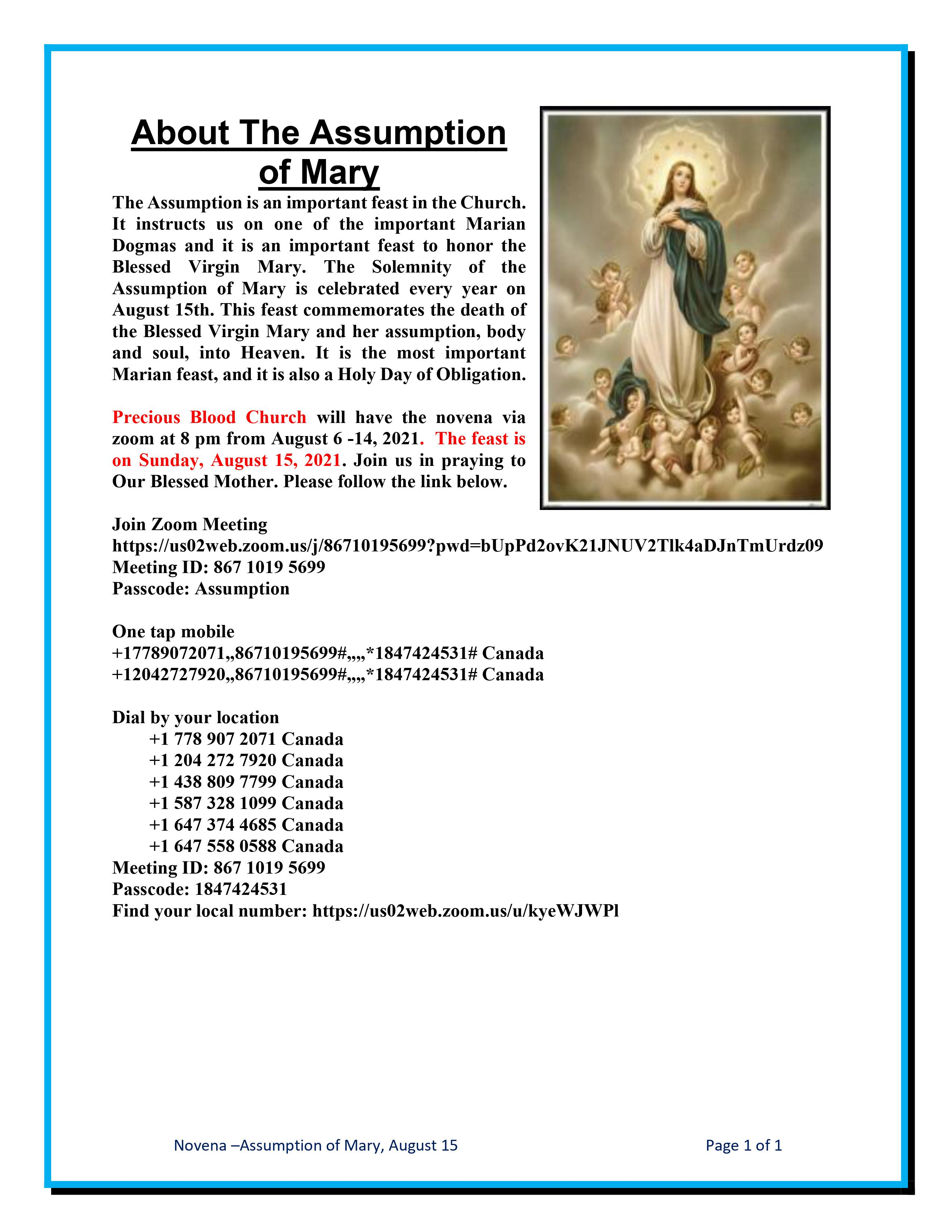 Feast of the Assumption of Mary Novena